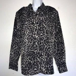 Susan Graver Gray Leopard Animal Print Top XL